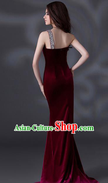 Top Grade Catwalks Wine Red Evening Dress Compere Modern Fancywork Costume for Women