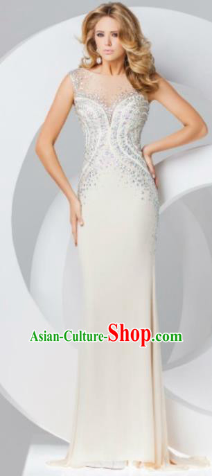 Top Grade Catwalks Diamante White Evening Dress Compere Modern Fancywork Costume for Women