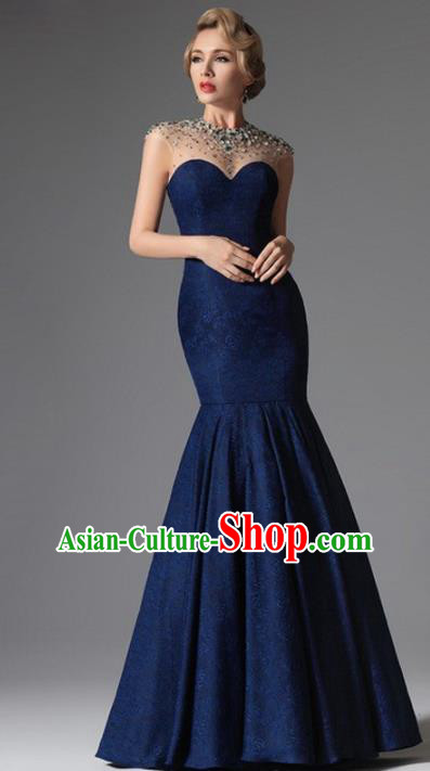 Top Grade Catwalks Navy Fishtail Evening Dress Compere Modern Fancywork Costume for Women