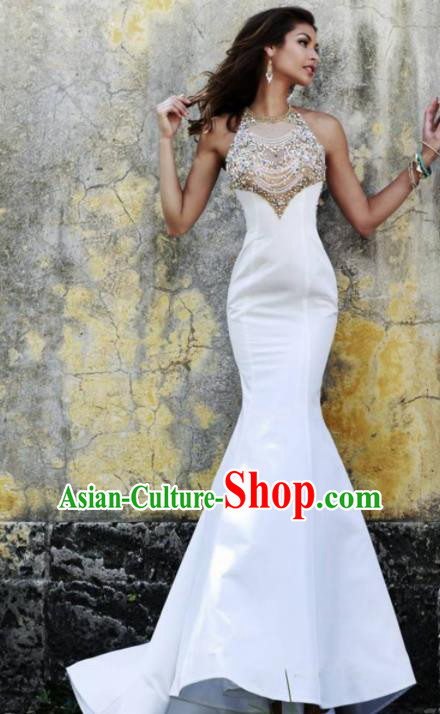 Top Grade Catwalks Crystal White Evening Dress Compere Modern Fancywork Costume for Women