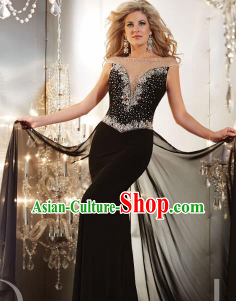 Top Grade Catwalks Diamante Black Evening Dress Compere Modern Fancywork Costume for Women