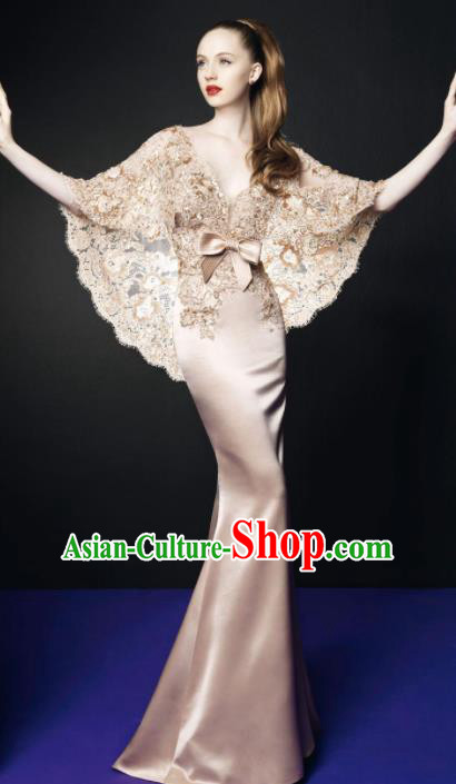 Top Grade Catwalks Champagne Lace Evening Dress Compere Modern Fancywork Costume for Women