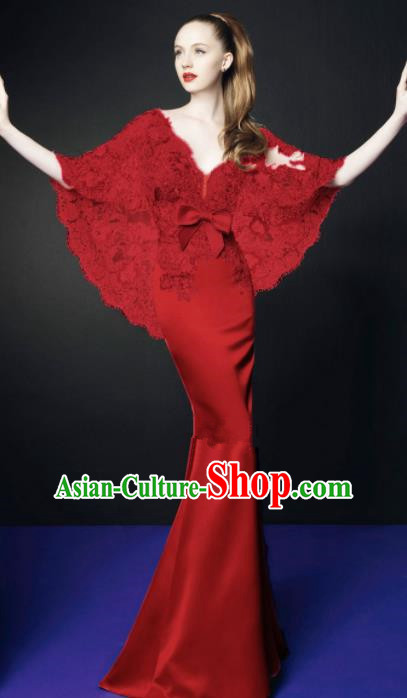 Top Grade Catwalks Red Lace Evening Dress Compere Modern Fancywork Costume for Women