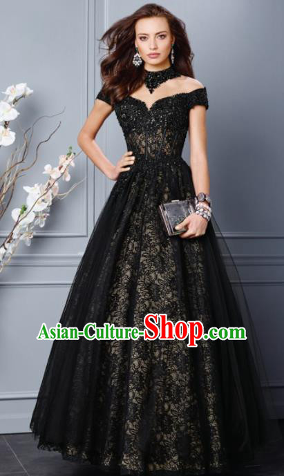 Top Grade Catwalks Black Veil Bubble Evening Dress Compere Modern Fancywork Costume for Women