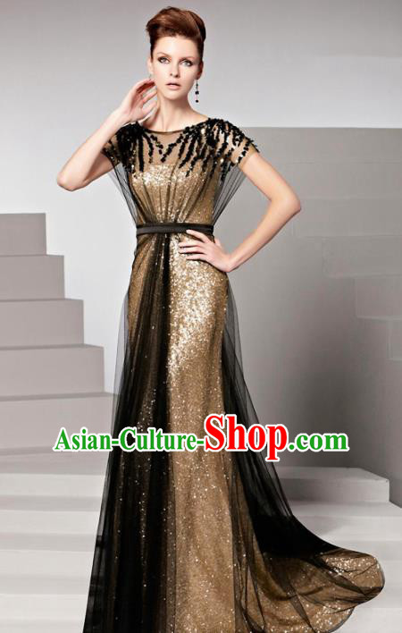 Top Grade Catwalks Golden Paillette Trailing Evening Dress Compere Modern Fancywork Costume for Women