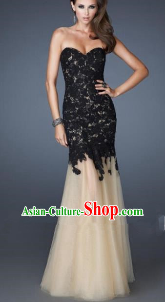 Top Grade Catwalks Black Lace Veil Evening Dress Compere Modern Fancywork Costume for Women