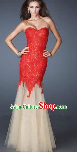 Top Grade Catwalks Red Lace Veil Evening Dress Compere Modern Fancywork Costume for Women