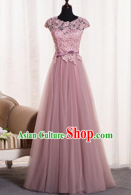 Top Grade Catwalks Pink Lace Veil Evening Dress Compere Modern Fancywork Costume for Women