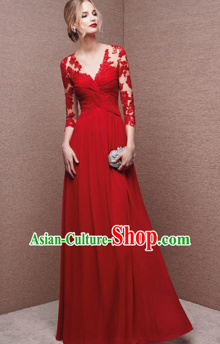 Top Grade Catwalks Red Embroidered Lace Evening Dress Compere Modern Fancywork Costume for Women