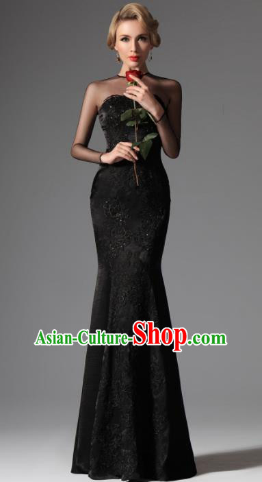Top Grade Catwalks Black Lace Evening Dress Compere Modern Fancywork Costume for Women