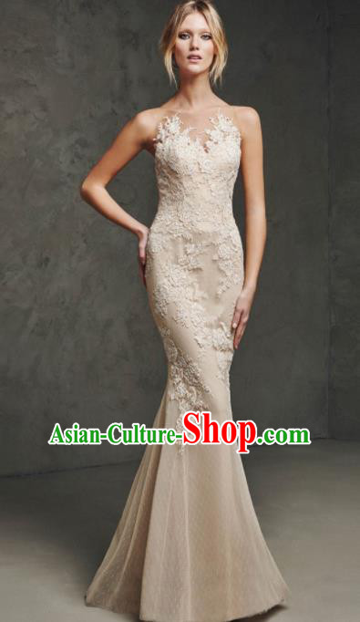 Top Grade Catwalks Embroidered Champagne Evening Dress Compere Modern Fancywork Costume for Women