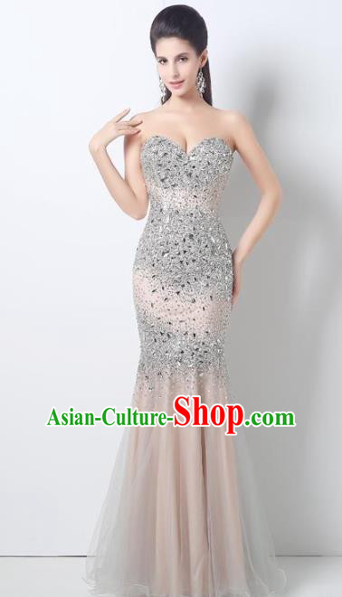 Top Grade Catwalks Diamante Champagne Veil Evening Dress Compere Modern Fancywork Costume for Women
