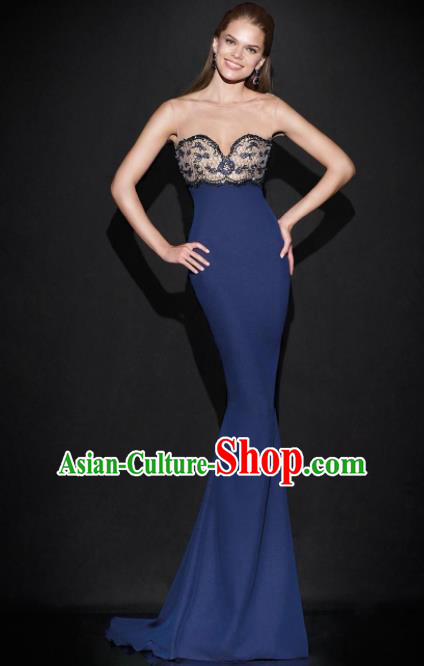 Top Grade Catwalks Navy Trailing Evening Dress Compere Modern Fancywork Costume for Women