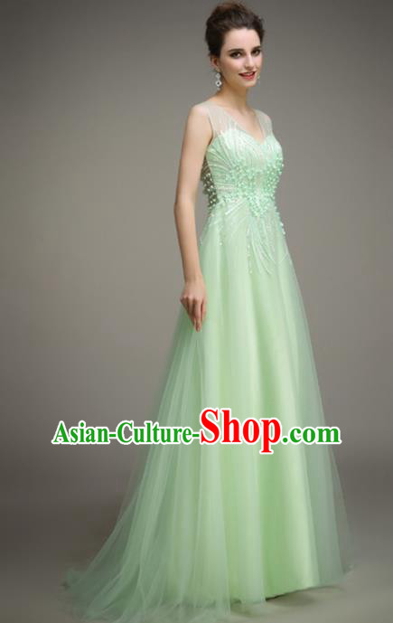 Top Grade Catwalks Green Veil Evening Dress Compere Modern Fancywork Costume for Women