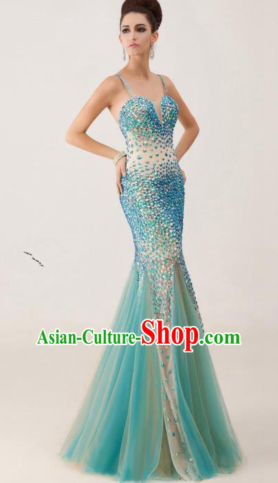 Top Grade Catwalks Blue Paillette Mermaid Evening Dress Compere Modern Fancywork Costume for Women