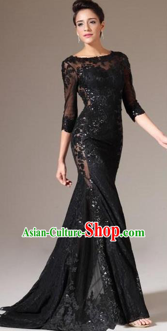 Top Grade Catwalks Black Embroidered Lace Evening Dress Compere Modern Fancywork Costume for Women