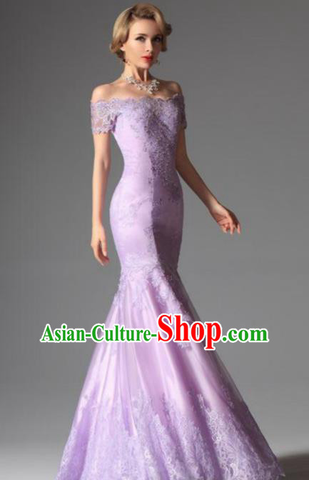 Top Grade Catwalks Embroidered Lace Purple Mermaid Evening Dress Compere Modern Fancywork Costume for Women