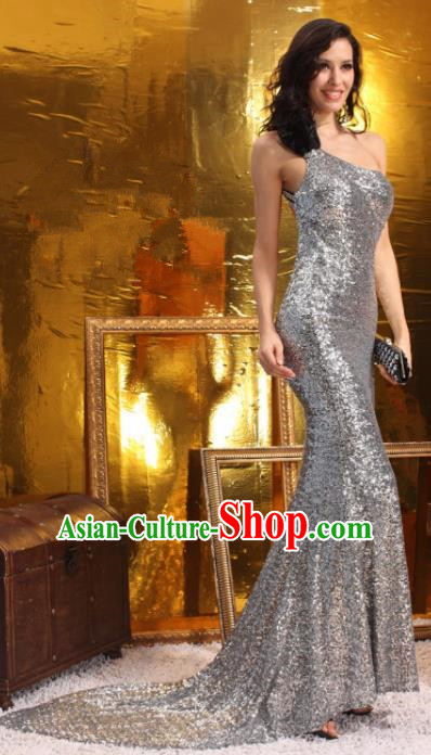 Top Grade Catwalks Argent Paillette Evening Dress Compere Modern Fancywork Costume for Women
