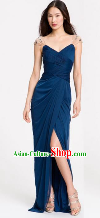 Top Grade Catwalks Peacock Blue Evening Dress Compere Modern Fancywork Costume for Women
