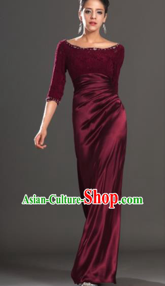 Top Grade Catwalks Wine Red Lace Evening Dress Compere Modern Fancywork Costume for Women