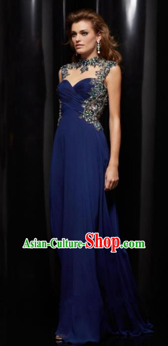 Top Grade Catwalks Deep Blue Evening Dress Compere Modern Fancywork Costume for Women