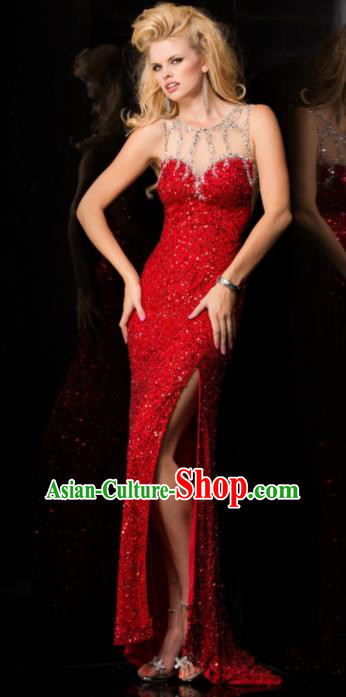Top Grade Catwalks Red Paillette Sexy Evening Dress Compere Modern Fancywork Costume for Women