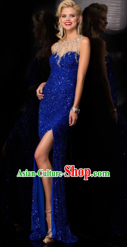 Top Grade Catwalks Royalblue Paillette Sexy Evening Dress Compere Modern Fancywork Costume for Women