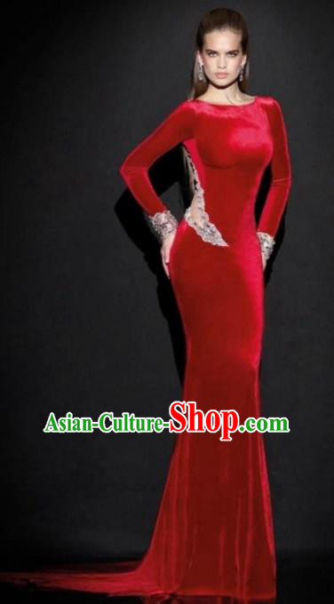 Top Grade Catwalks Red Sexy Evening Dress Compere Modern Fancywork Costume for Women