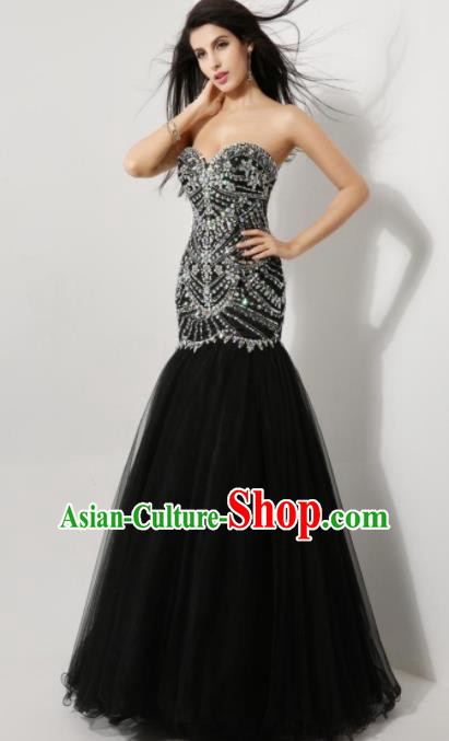 Top Grade Catwalks Black Veil Crystal Evening Dress Compere Modern Fancywork Costume for Women