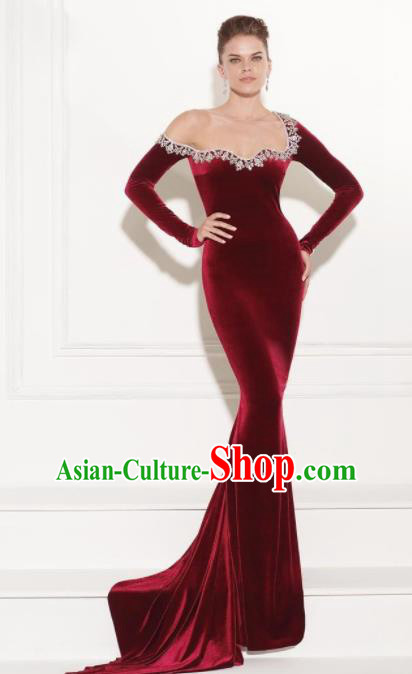 Top Grade Catwalks Wine Red Velvet Formal Dress Compere Modern Fancywork Costume for Women