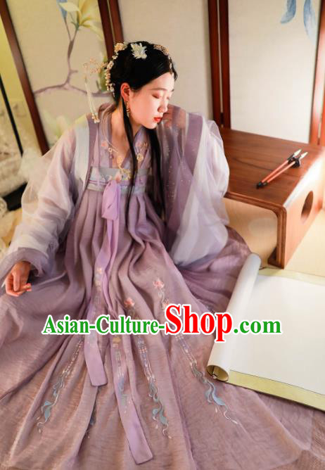 Chinese Ancient Princess Hanfu Dress Traditional Tang Dynasty Court Lady Embroidered Historical Costume for Women
