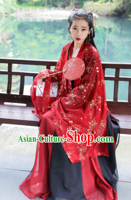 Traditional Chinese Tang Dynasty Historical Costume Ancient Princess Wedding Red Hanfu Dress for Women