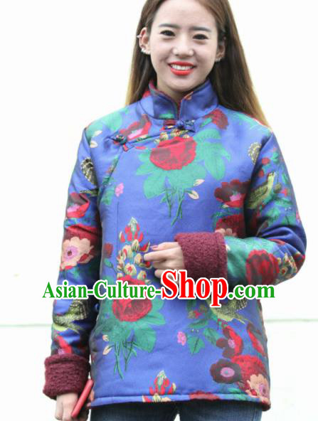 Chinese Traditional Tibetan Ethnic Blue Cotton Padded Jacket Zang Nationality Heishui Dance Costume for Women