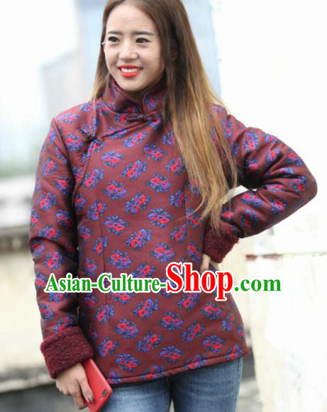 Chinese Traditional Tibetan Ethnic Dark Red Cotton Padded Jacket Zang Nationality Heishui Dance Costume for Women