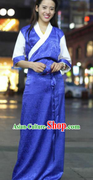 Chinese Traditional Tibetan Ethnic Royalblue Dress Zang Nationality Heishui Dance Costume for Women