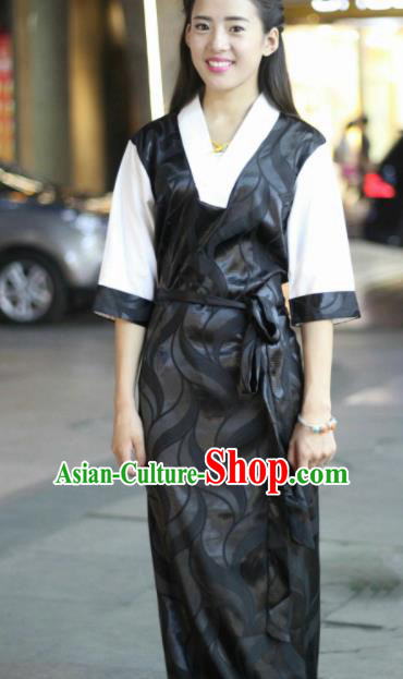 Chinese Traditional Tibetan Ethnic Black Dress Zang Nationality Heishui Dance Costume for Women
