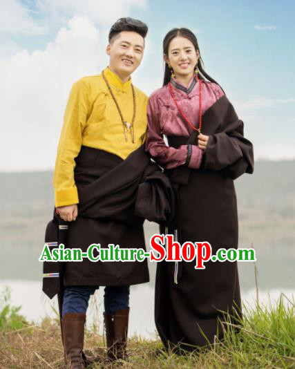 Chinese Traditional Tibetan Wedding Robes Zang Nationality Heishui Dance Ethnic Costumes for Women for Men