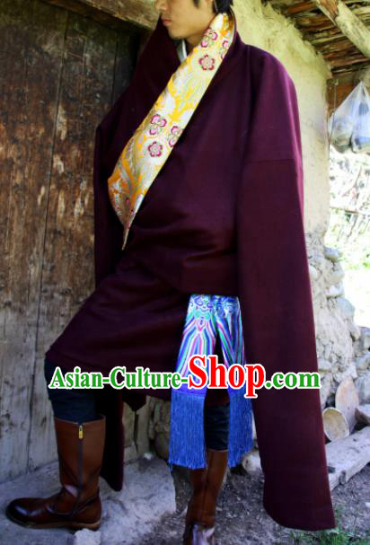 Chinese Traditional National Wine Red Tibetan Robe Zang Nationality Ethnic Folk Dance Costume for Men