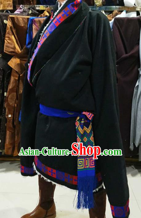 Chinese Traditional National Navy Tibetan Robe Zang Nationality Ethnic Folk Dance Costume for Men