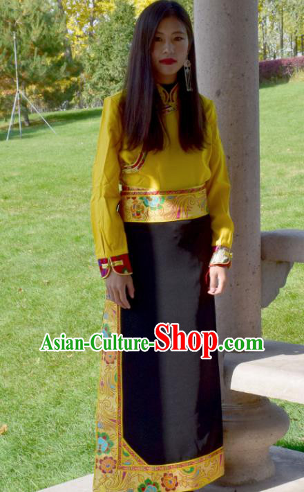 Chinese Traditional Tibetan National Ethnic Black Brocade Skirt Zang Nationality Costume for Women