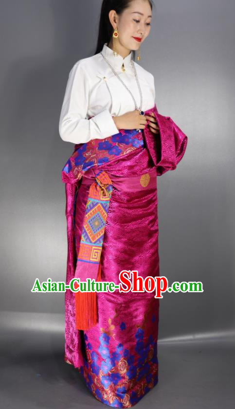 Chinese Traditional Tibetan National Ethnic Rosy Robe Zang Nationality Wedding Costume for Women