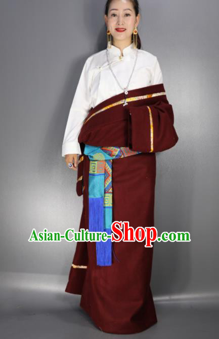 Chinese Traditional National Ethnic Wine Red Tibetan Robe Zang Nationality Folk Dance Costume for Women