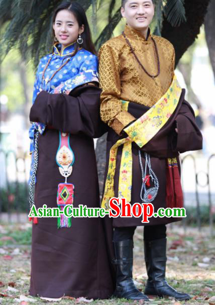 Chinese Traditional Tibetan Bride and Bridegroom Brown Robes Zang Nationality Heishui Dance Ethnic Costumes for Women for Men