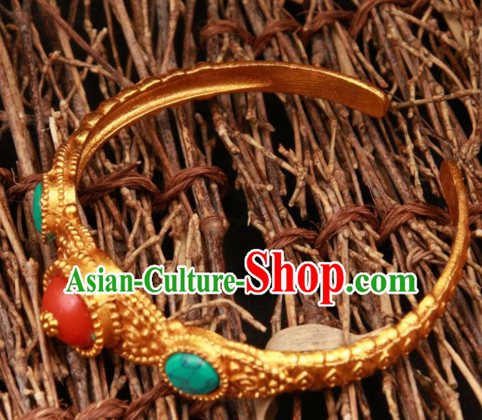 Chinese Traditional Tibetan Ethnic Jewelry Accessories Zang Nationality Kallaite Bracelet for Women