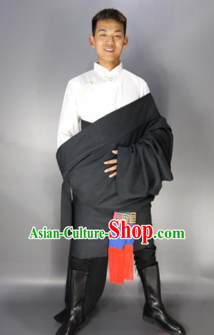 Traditional Chinese National Ethnic Deep Grey Tibetan Robe Zang Nationality Folk Dance Costumes for Men