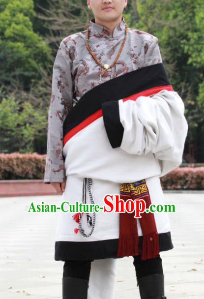 Chinese Traditional Tibetan Male White Robes Zang Nationality Heishui Dance Ethnic Costumes for Men