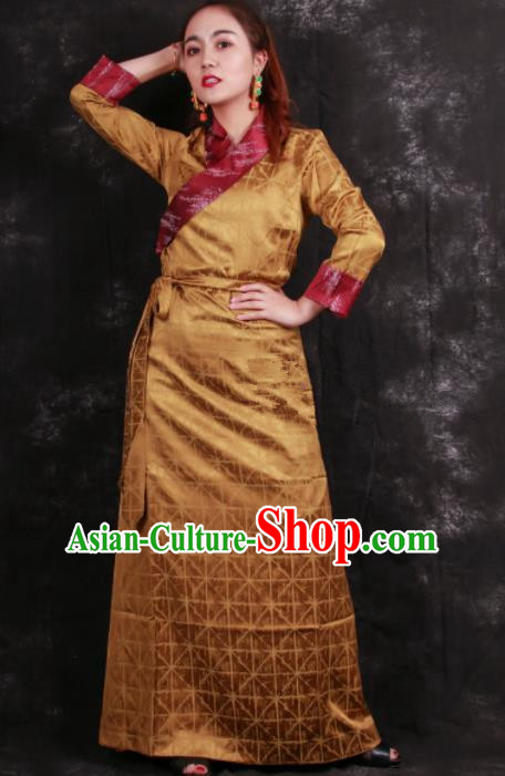 Chinese Traditional Tibetan Ethnic Golden Brocade Dress Zang Nationality Heishui Dance Costume for Women