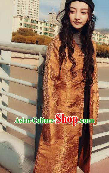 Chinese Traditional Ethnic Female Golden Dust Coat Zang Nationality Costume for Women