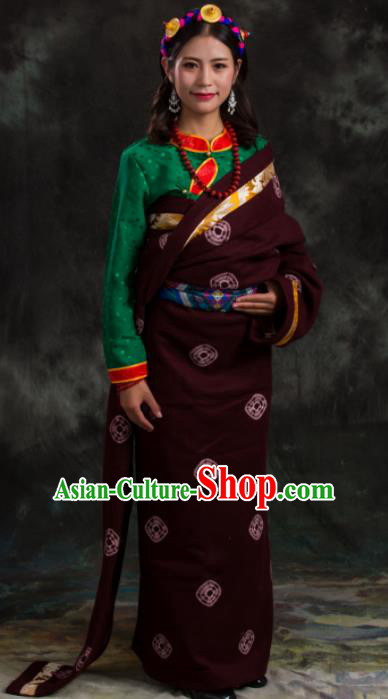 Chinese Traditional National Ethnic Amaranth Tibetan Robe Zang Nationality Costume for Women