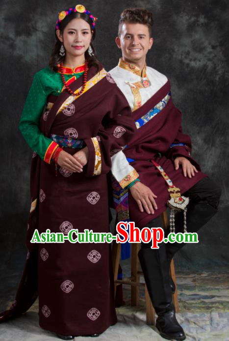 Chinese Traditional Couple Wine Red Tibetan Robe Zang Nationality Ethnic Folk Dance Costume for Women for Men